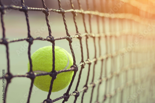 Aluminium Tennis Close up tennis ball hitting to net on blur background