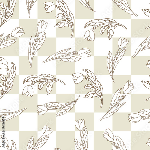 Seamless pattern with cute cartoon  flowers, tulips on checkered background. - 196136659