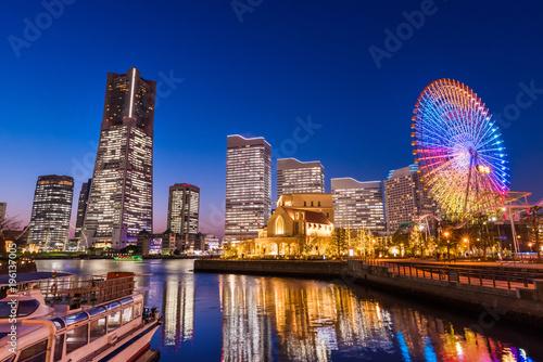 Fotobehang Amusementspark 横浜みなとみらいの夜景