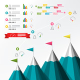 Timeline Infographic. Vector Infographics with Mountains and Graphs. Business Report Template. - 196137812