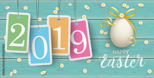 Happy Easter Eggs Daisy Wooden Price Stickers Turquoise 2019 Header - 196138402