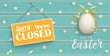 Happy Golden Easter Eggs Daisy Wooden Closed Turquoise Header