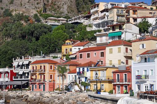 Fototapeta old colorful buildings street Parga Greece