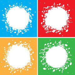 set of color vector backgrounds with white music notes in center