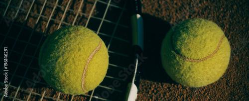 Aluminium Tennis Tennis balls on racket, sport equipment