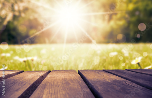 Wooden Board With Daisy Flower Field As Background, Ruby Retro Filter