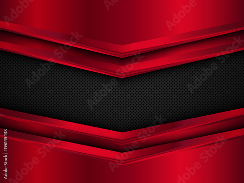 Fototapeta Black and red metal background. Abstract vector illustration