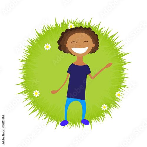Fotobehang Boerderij illustration of a kid girl boy laying on the grass