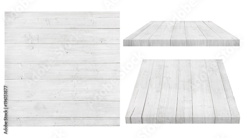Biała drewniana ściana, stół, podłogowa powierzchnia, drewniana tekstura. Obiekty są izolowane na białym tle