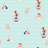 Seamless pattern with cartoon swimming people. Vector hand drawn illustration. - 196152275