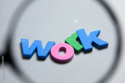 work word written on white background with colorful letters under