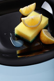 Black plate and dish sponge . - 196159429