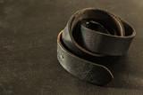 Rolled fashionable men's black leather belt - 196161403