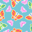 beautiful pink flowers , on a blue, pattern - 196163054