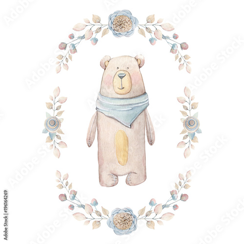 Watercolor childhood clipart. Vintage watercolor teddy  in oval frame. - 196164269