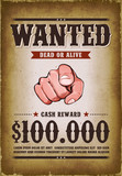 Vintage Wanted Western Poster - 196164837