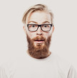 Bearded hipster young man wearing glasses  isolated on white background