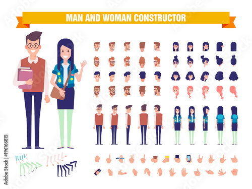 Young guy and girl students character constructor with various views, hairstyles, poses and gestures. Front, side, back view. Cartoon style, flat vector illustration.