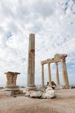 Columns of an ancient Greek temple, ruins - 196167016