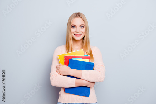 Style stylish blonde people teacher employment pupil concept. Portrait of pretty cute lovely attractive teenage girl holding stack pile on book in hands isolated on gray background copy-space - 196168061