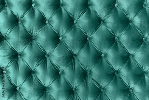 Blue velvet capitone textile background, retro Chesterfield style - 196168805