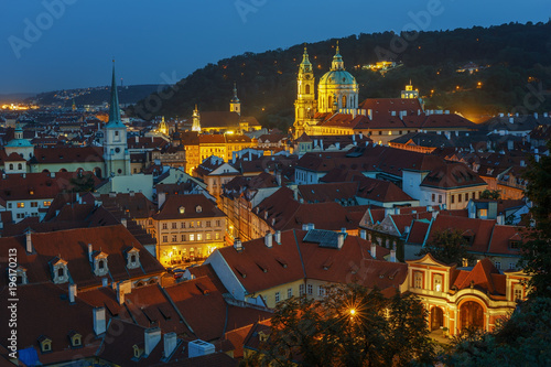 In de dag Praag .Night view of the historical center of Prague from the observation deck of the Prague Castle. Czech Republic.