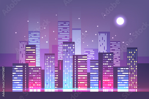 Fotobehang Purper Night city skyline with neon lights. Modern city. Vector illustration.