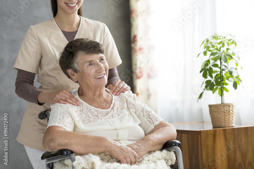Foto op Plexiglas Hoogte schaal Senior woman in the wheelchair