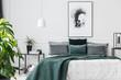Emerald green elegant bedroom interior