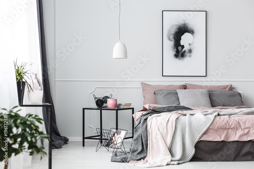 Poster in pink bedroom interior - 196172611
