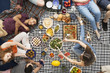 Vegan people eating falafels