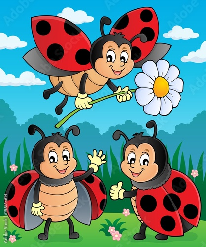 Fotobehang Voor kinderen Happy ladybugs on meadow image 2