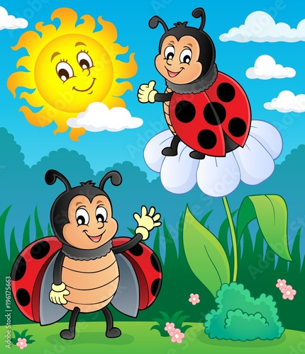 Fotobehang Voor kinderen Happy ladybugs on meadow image 3