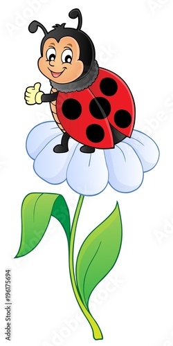 Fotobehang Voor kinderen Happy ladybug on flower image 1