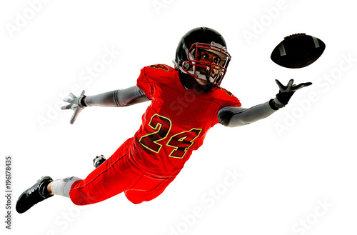 Fotobehang Voetbal one african woman teenager girl american football players isolated on white background silhouette with shadows