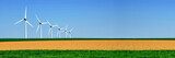 Panorama of wind turbines aligned in a green and yellow field