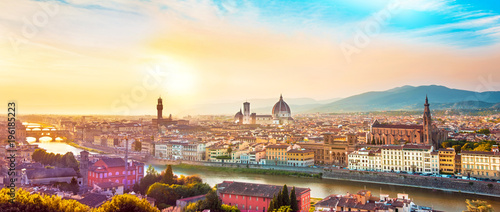 Fotobehang Florence Beautiful magical optimistic landscape fabulous panoramic view of Florence from Michelangelo Square in in sunset. It is a pilgrimage of tourists and romantics. Duomo Cathedral. Italy, Tuscany.