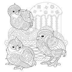 Chicks around basket with Easter eggs and Easter cake. Coloring Page for adult colouring book. Antistress freehand sketch drawing with doodle and zentangle elements.