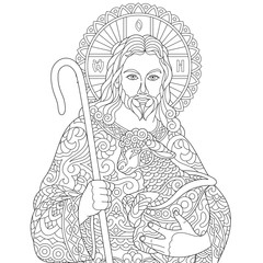 Jesus Christ and newborn Baby Sheep. Portrait of christian biblical character. Coloring Page for adult colouring book. Antistress freehand sketch drawing with doodle and zentangle elements.