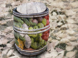 Barrel of vegetables on the background of autumn leaves. Double exposure.