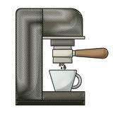 coffee espresso machine side view colored crayon silhouette vector illustration