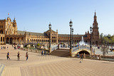 A beautiful view of Spanish Square, Plaza de Espana, in Seville