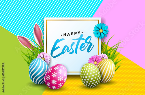 Vector Illustration of Happy Easter Holiday with Painted Egg, Rabbit Ears and Flower on Colorful Background. International Spring Celebration Design with Typography for Greeting Card, Party Invitation - 196197288