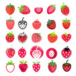 Strawberry icons big set. Different styles.