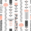 Pattern with black and pink flowers - 196204628