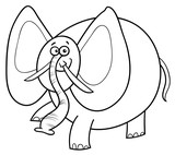 African elephant cartoon character color book - 196205895