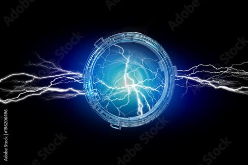 Deurstickers UFO Thunder lighting bolt in a science fiction wheel interface - 3d render