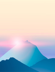 Green mountains in the fog. Seamless background. vector illustration © vetal37
