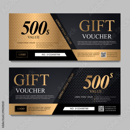Voucher Template With Black And Gold Certificate Background Design