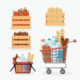 supermarket colorful set with shelf and baskets and shopping cart with foods and drinks vector illustration - 196209615
